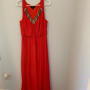 AGB size large sleeveless dress orange/red color